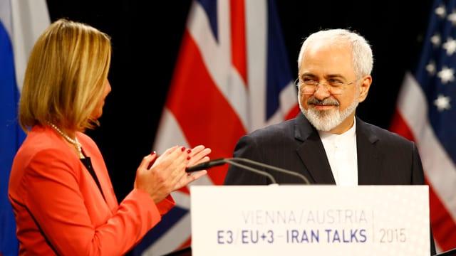EU-Aussenbeauftragte Federica Mogherini und der iranische Aussenminister Mohammed Zarif