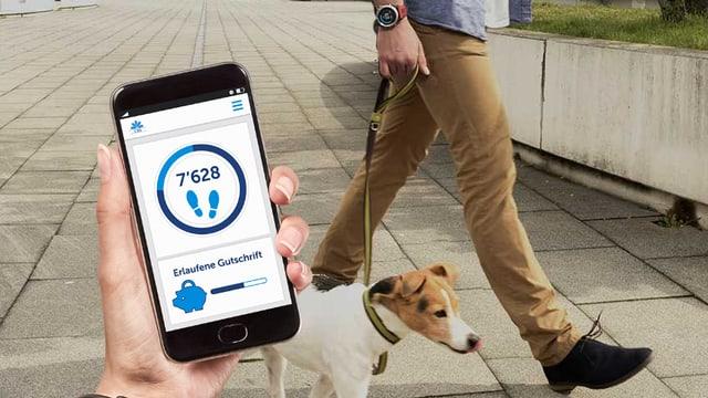 Handy mit CSS-App im Vordergrund; hinten eine Hund mit seinem Herrchen.
