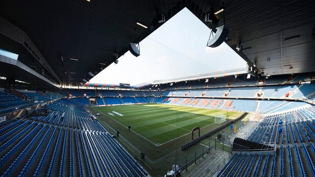 Das St. Jakob-Stadion von innen