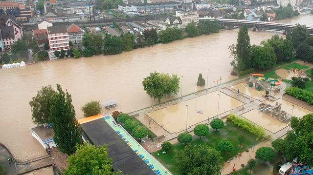 Hochwasser in Olten von 2007.