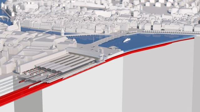 Visualisierung des Durchgangsbahnhofs in Luzern.