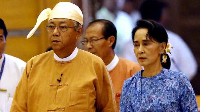 Suu Kyi steht offiziell hinter ihrem Vertrauten Htin Kyaw.