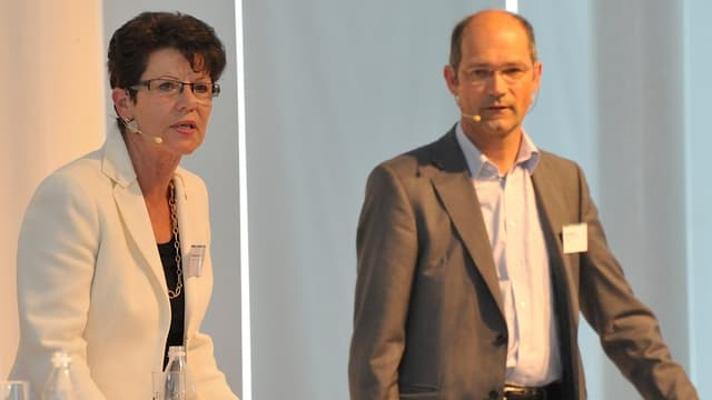 Die Volkswirtschaftsdirektoren der beiden Appenzell: Links Marianne Koller, rechts Daniel Fässler