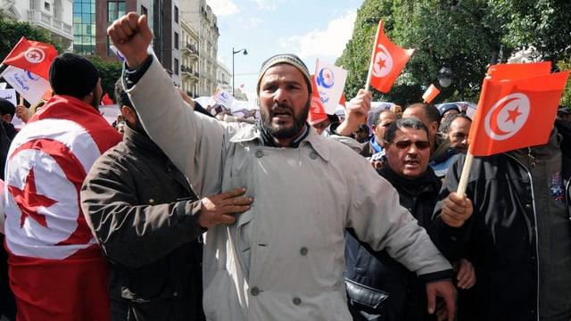 Demonstration in Tunesien.