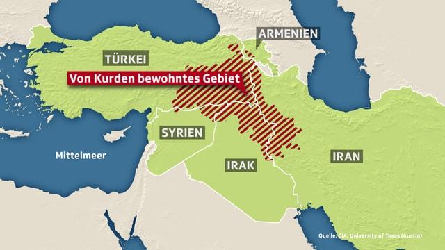 Karte des kurdischen Siedlungsgebietes