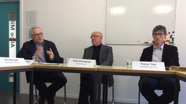 Thomas Bornhauser, Anton Schwingruber und Thomas Thali der Caritas Luzern.