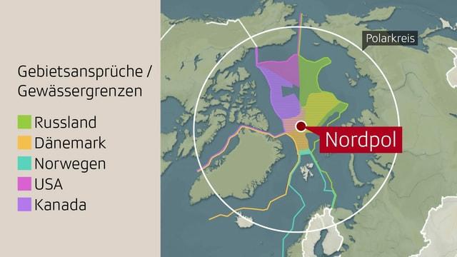 Karte mit den verschiedenen Gebietsansprüchen in der Arktis.