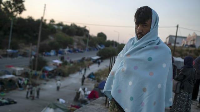 Migrant auf der griechischen Insel Lesbos
