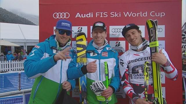 Das Trio Reichelt, Baumann und Mayer strahlt in der Leaderbox.