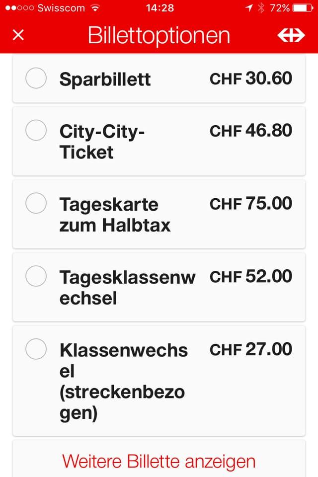 Foto eines Bildschirmes mit verschiedenen Bahn-Ticketpreisen.