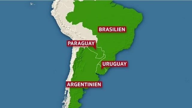 Karte der Mercosur-Staaten