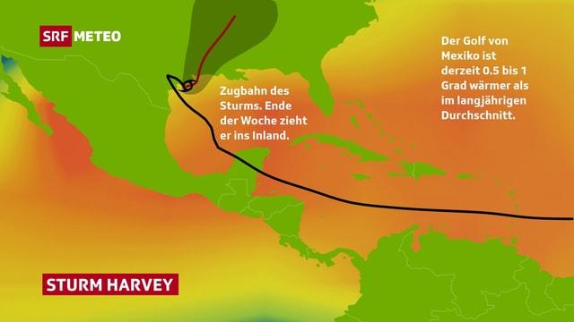 Das Bild zeigt die Meerestemperaturen rund um Nord- und Mittelamerika. Die Zugbahn des Sturmes ist ebenfalls eingezeichnet.