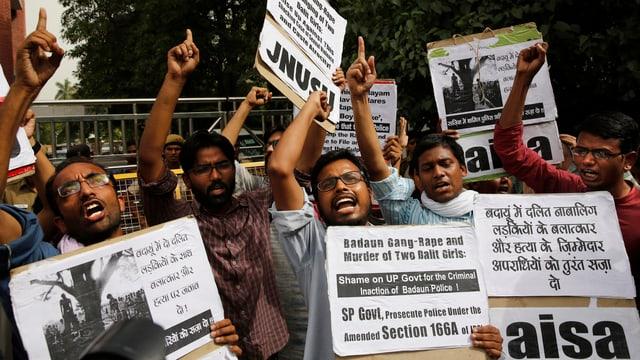 Protestierende Inder