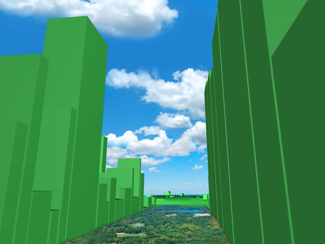 Eine digitale Skyline um den Central Park, New York, zeigt in grüner Farbe an, wie ungleich der Wohlstand in der jeweiligen Region verteilt ist.