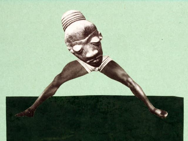Collage aus muskulösen Boxerbeinen und einer afrikanischen Maske.