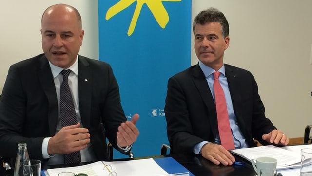 CEO Daniel Salzmann (links) und Verwaltungsratspräsident Mark Bachmann erläutern die neusten Geschäftszahlen.
