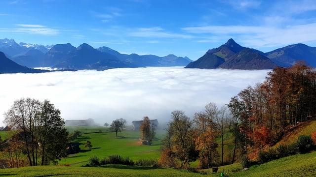 Blick auf ein Nebelmeer über dem Talkessel von Schwyz.