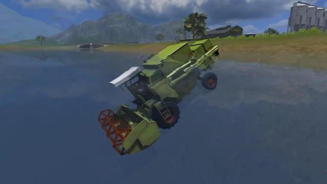Ein Screenshot aus dem Landwirtschafts-Simulator 2013, der einen Mähdrescher zeigt in einem See schwebend.