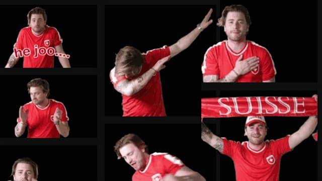 Baschi mit rotem Nationalmannschaft-T-Shirt, verschiedene animierte GIFs, auf denen er typische Fan-Posen macht.