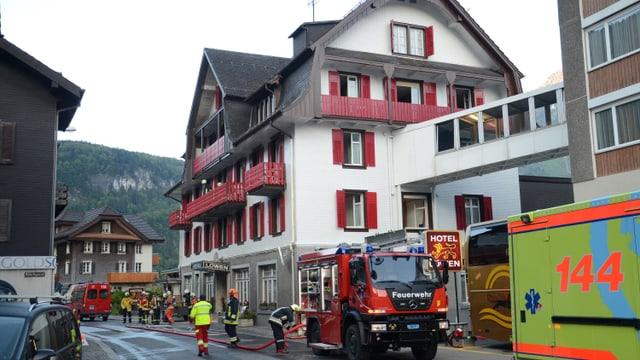 Feuerwehreinsatz in Hotel.