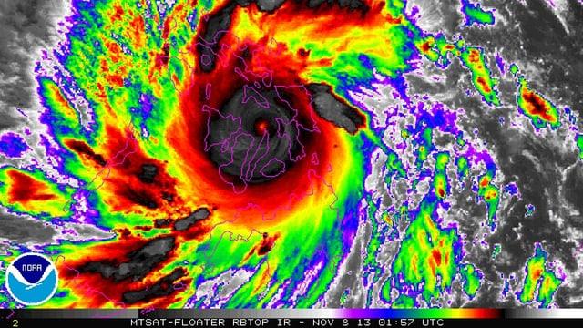 Ein Infrarot-Satellitenbild des Taifuns Haiyan