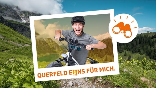Reto Scherrer mit einem E-Bike vor einer Berglandschaft