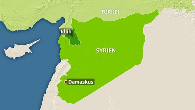 Karte von Syrien, Damaskus und Idlib eingezeichnet