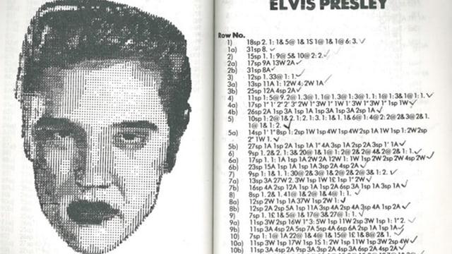 Links ein Kopf von Elvis Presley, rechts eine Liste von Zahlen und Ziffern.