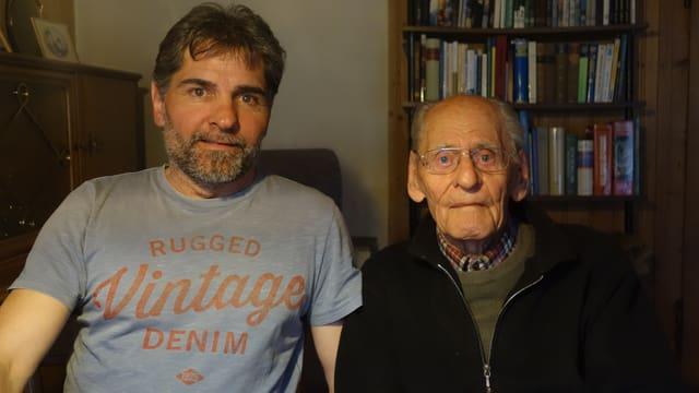 Ueli Hartmann il president dal club da skis cun ses barba Schon Fidel Hartmann, ch'è naschì il 1921, in dals emrims commembers dal club da Skis Lai-Valbella.