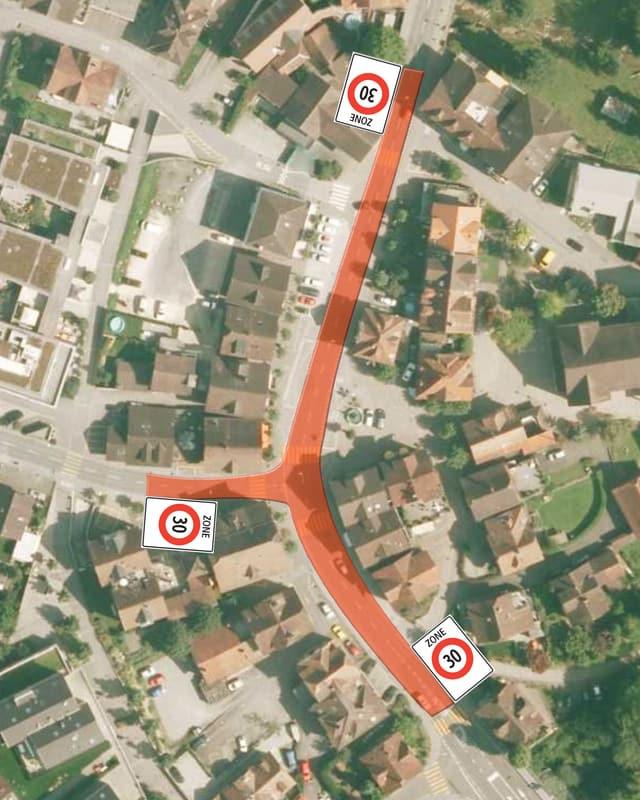 Luftbild der Gemeinde Rothenburg mit eingezeichneten 30er-Zonen.
