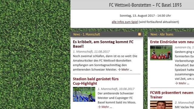 Internetseite des FC Wettswil, «es kribbelt, am Sonntag kommt FC Basel!»