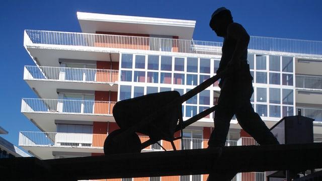 Symbolbild einer Baustelle, mit einem neuen Gebäude im Hintergrund und einem Bauarbeiter im Vordergrund.