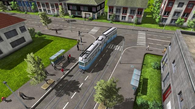 Standbild aus Train Fever mit einem virtuellen blauen Zürcher Tram.