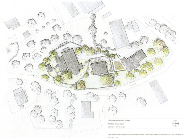 Skizze Umgebungsarchitektur Künstlerhaus Boswil