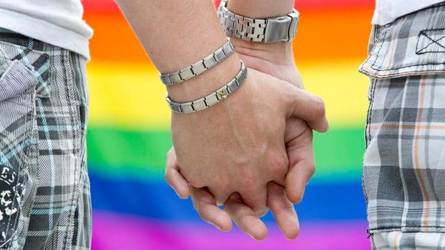 Schwule Männer geben sich die Hand.
