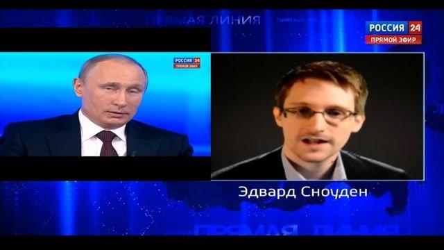 Screenshot des russischen TVs mit Putin und Snowden.