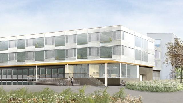 Visualisierung des neuen Gebäudes der Klinik Lengg mit drei Stöcken und Flachdach.