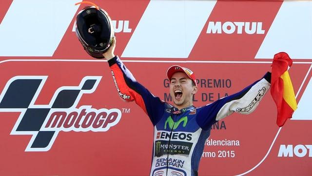 Il Spagnol Jorge Lorenzo gudogna l'ultima cursa a Valencia e vegn campiun mundial da la MotoGP.