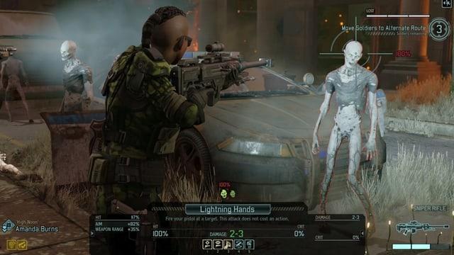 Ein rundenbasiertes Strategiespiel, in dem gerade auf einen Zombie geschossen wird.