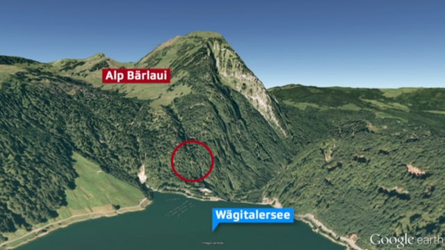 Der Wägitalersee mit der Alp Bärlaui im Hintergrund.