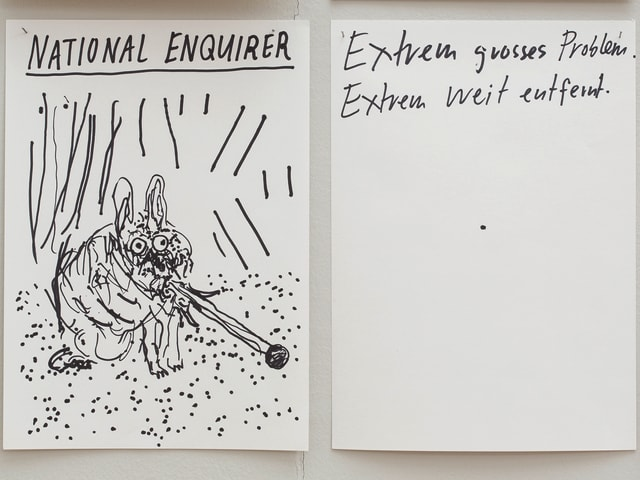 Zeichnungen mit schwarzem Filzstift.