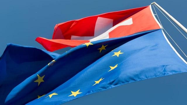 Purtret d'ina bandiera Svizra che penda sur ina da l'Uniun europeica.