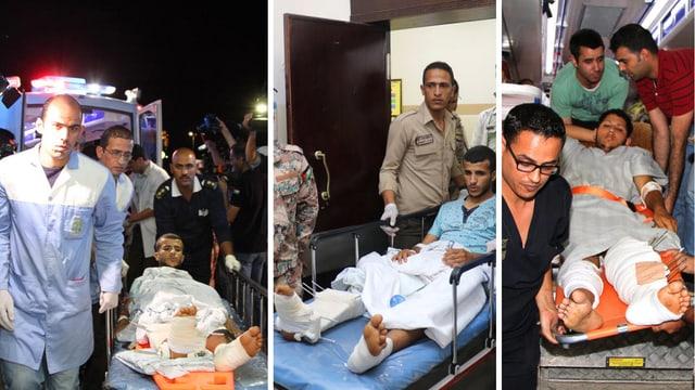 Collage aus drei Bildern. Mitglieder des «Jordanian Royal Medical Services» transportieren drei Patienten mit schweren Beinverletzungen auf Bahren.