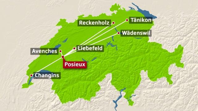 Schweizer Karte mit den sieben Agroscope-Forschungsstandorten.
