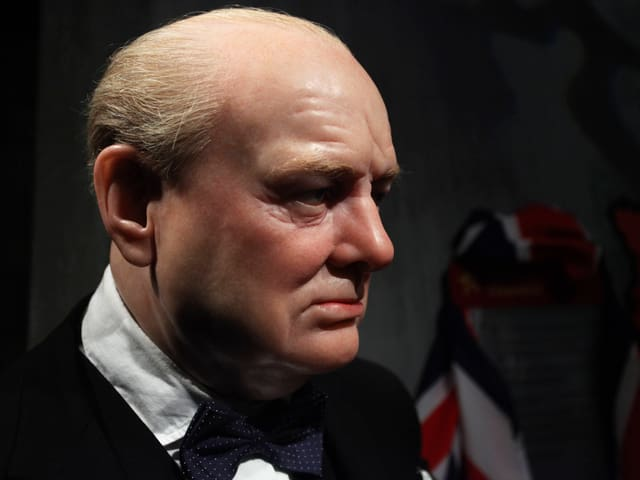 Wachsfigur von Churchill.