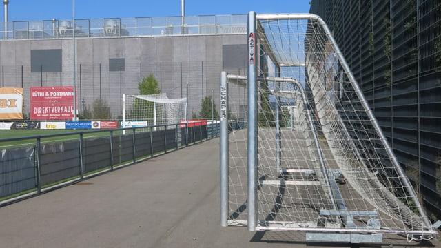 Die Tore des FC Wyler wurden auf die Seite gestellt.
