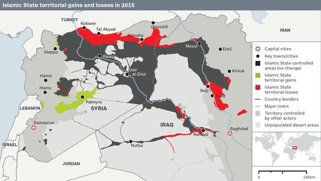 Zu sehen ist eine Landkarte mit den Ländern Syrien und Irak. Darauf sieht man ein angemaltes Gebiet, welches sich mit vier Armen über Syrien und den Irak erstreckt - das IS-Gebiet. Im Norden sind rund 14 Prozent rot eingefärbt, es bedeutet, dass der IS dort Gebiete verloren hat.