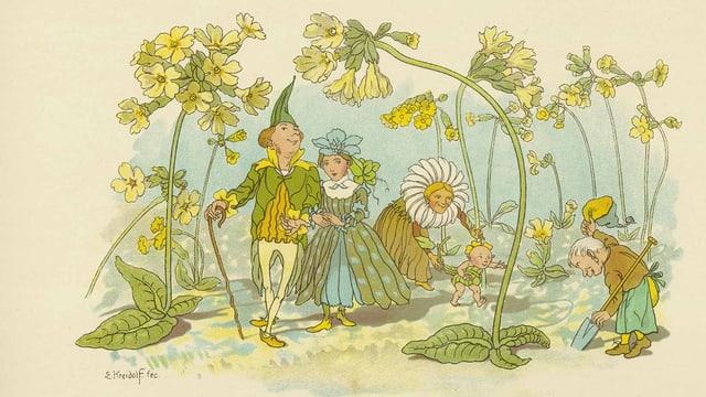 Zeichnung von Fantasie-Figuren, die durch Blumen gehen.
