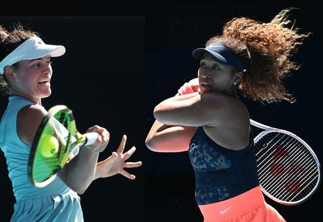 Jennifer Brady und naomi Osaka stehen sich gegenüber.