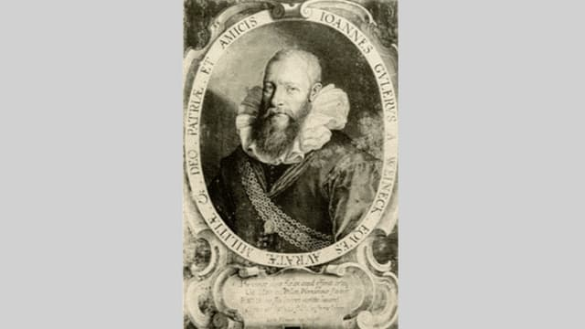 Portret da l'istoricher e politicher grischun Johannes Guler.